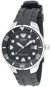 Citizen Men's BN0070-09E Eco-Drive Professional Diver Black Rubber Strap Watch