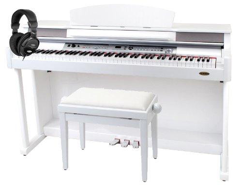 classic cantabile dp-500 piano numerique a queue en blanc brillant
