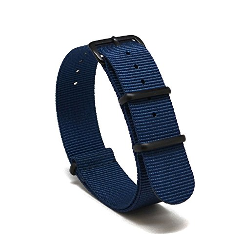 Nato Skull 20mm NATO Watch Band Strap with PVD Buckles in Navy Blue