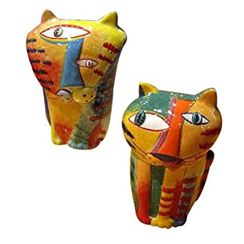 folk art cat salt and pepper shaker set