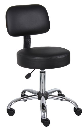 Boss Black Caressoft Medical Stool W/Back