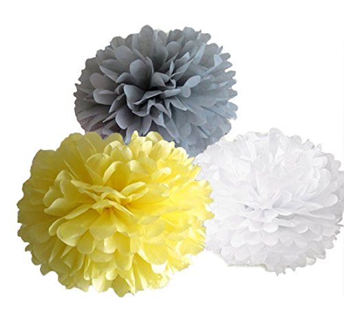 10-inch 18pcs Mixed Yellow Grey White Tissue Paper Flower Pom Poms Wedding Baby Shower Party Nursery Hanging Decoration Favor,per Pack of 18