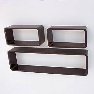 homestyle4u retro cube design wandregal wandboard regal w rfel 3er set dunkelbraun. Black Bedroom Furniture Sets. Home Design Ideas