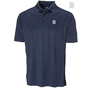 Detroit Tigers Mens DryTec Sullivan Embossed Polo Shirt Navy Blue by Cutter & Buck