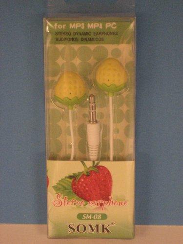 Strawberries Earphone Yellow Mp3 Or Mp4