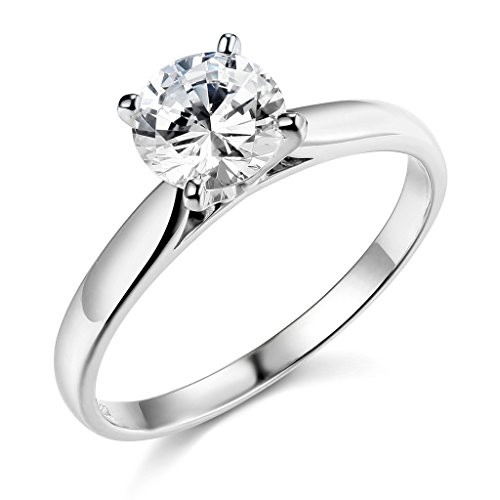 .925 Sterling Silver Rhodium Plated Wedding Engagement Ring - Size 5.5