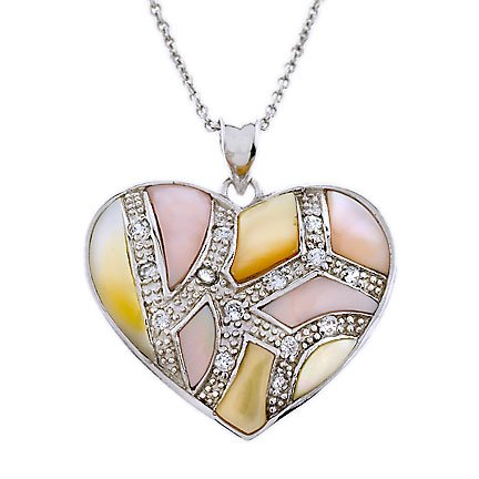 Mosaic Genuine Mother-Of-Pearl C.Z. Silver Heart Pendant Sterling Silver Jewellery (Cyber Monday Special Sale)