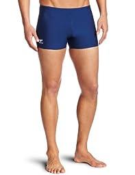 Speedo Men\'s Endurance+ Polyester Solid Square Leg Swimsuit, Navy, 32
