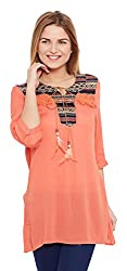 Meee Women's Wrap Top (MEEE-010003_Orange_Large)