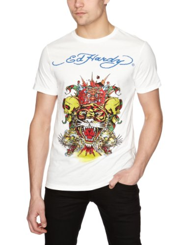 Ed Hardy Tiger Skull Collage Plat Printed Men's T-Shirt White XX-Large