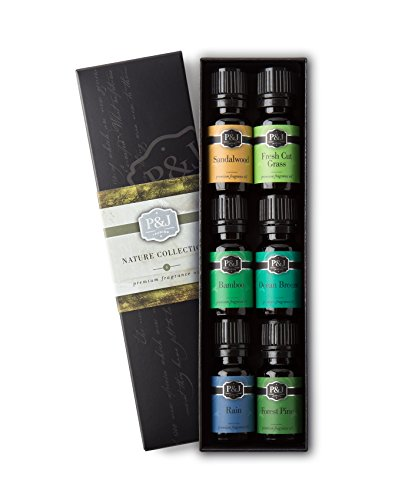 Nature Set of 6 Premium Grade Fragrance Oils - Forest Pine, Ocean Breeze, Rain, Fresh Cut Grass, Sandalwood, Bamboo - 10ml