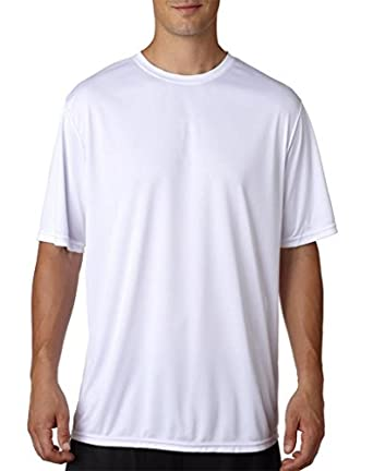 A4 Mens Cooling Performance Crew T-Shirts Small White
