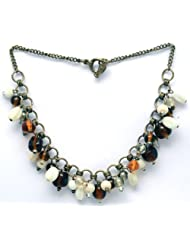 V3 Craft's Tonal Glass Beads With Antique Metal Necklace For Women
