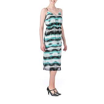 Vince Camuto Women's S/L Linear Echoes High Waist Dress Rich Teal Dress XS
