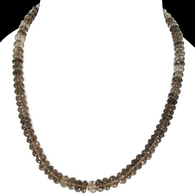 925 Sterling Silver Natural Smoky Quartz 9mm Beads Strand Necklace Jewelry