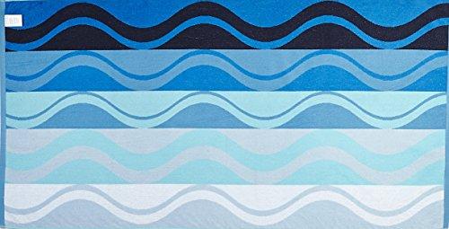 Arus Turkish Terry Cotton Beach Towel Waves Blue New