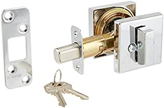 Kwikset 993 Square Contemporary Single Cylinder Deadbolt featuring SmartKey® in Polished Chrome
