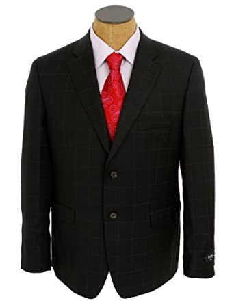 Ralph Lauren Mens Black Windowpane Slim Fit Wool Suit- Size 46S