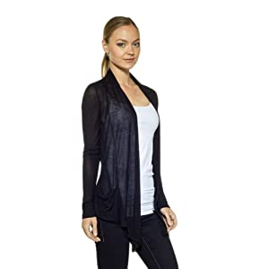 CordiU Sheer Drape Light Rayon Cardigan-Black-Medium