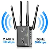VICTONY 1200Mbps | 2.4GHz and 5.8GHz Dual Band WiFi Repeater Wireless Signal Booster, 360 Degree Full Coverage Network (Color: Black-A)