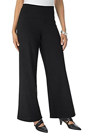 Roamans Women's Plus Size Ponte Wide Leg Pants Black,12 W