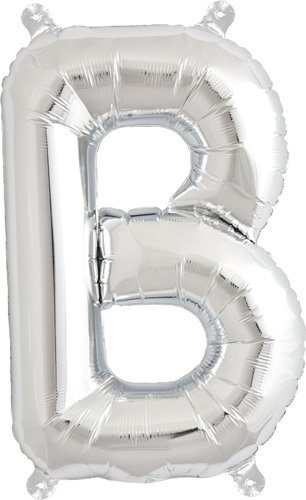 16 inch Letter B - Silver Air-Filled Foil Balloon