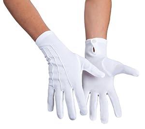 Handschuhe Herren, weiß mit Biesen, Baumwolle