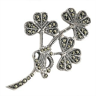 Sterling Silver and Marcasite Shamrock Brooch-Made in Ireland
