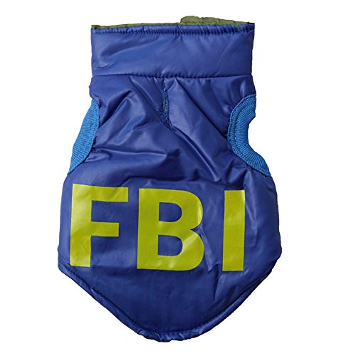 P&Q Estore Pet Dog Puppy Winter Warm Vest Coat Jacket Snowsuit Clothes Apparel for Dog + 1XBowknot (FBI(Blue), Small)
