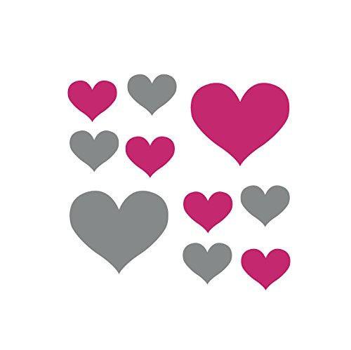 Set of 50 - Hot Pink / Metallic Silver Heart Vinyl Wall Decals Stickers [Peel and Stick Graphic Mural Hearts Kit Appliques]