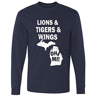 Lions Tigers Wings Oh MI Vintage Long Sleeve T-Shirt