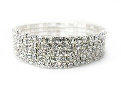 Bridal Rhinestone Stretch Bracelet 5-row Silver Tone – Ideal for Wedding, Pro…