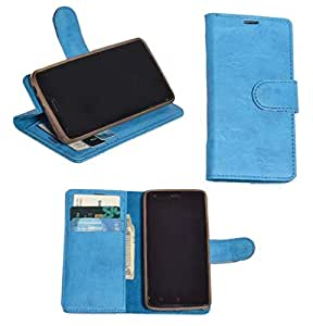 R&A Pu Leather Wallet Flip Case Cover With Card & ID Slots & Magnetic Closure For Micromax Unite 2 A106