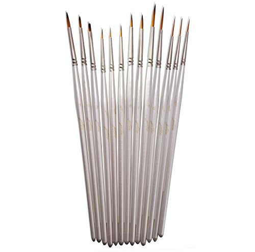 yohino Professional Fine Detail Paint Brushes Set (13-Piece Set) - Synthetic Taklon Hair - Perfect for Artists and Students - Great for Acrylic, Oil, Watercolor (Golden Neon Paint compare prices)
