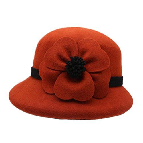 Donna Autunno Inverno Elegante Lana Fiore decorativo feltro rotonda Cap Hat Cloche , bordeaux , m (56-58cm)