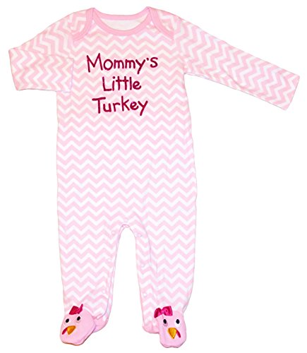 Mommy's Little Turkey Thanksgiving Baby Girls Footed Bodysuit Outfit (3-6 Months) (Koala Kids compare prices)