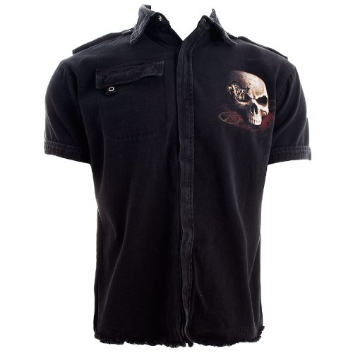 Spiral Direct Steampunk Bandit Short Sleeved Shirt (Black) - Medium