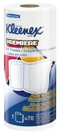 "Kimberly-Clark Kleenex 13964 Premiere Kitchen Roll Towel, 11"" Length x 10-25/64"" Width, White (24 Rolls of 70)"