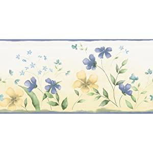 waverly 5500652 fresh picked wall border blue and yellow