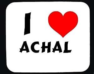 Amazon.com : I Love Achal custom mouse pad (first name/surname