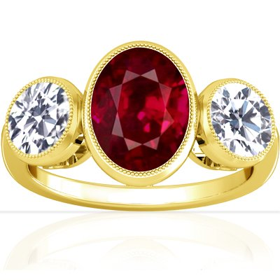 18K Yellow Gold Oval Cut Ruby Three Stone Ring