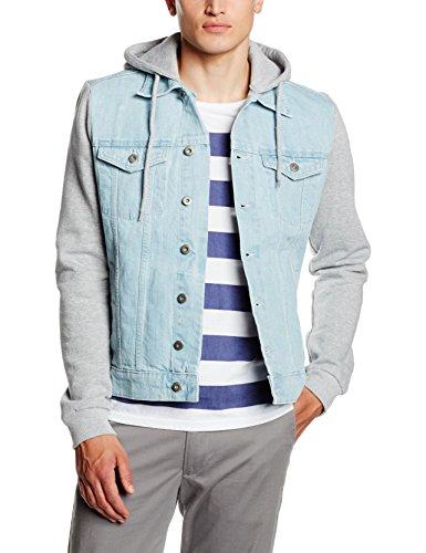 Urban Classics Hooded Denim Fleece Jacket, Giacca Uomo, Blau (Lightblue 344), Medium