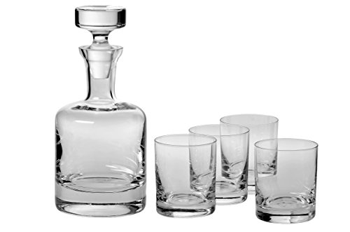 Ravenscroft Crystal Buckingham Decanter 125Th Anniversary Limited Edition Gift Set. Includes Four (4) Crystal Dof Glasses, Plus One (1) Handmade European Lead-Free Crystal Decanter.