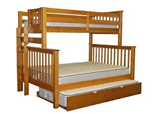 Bedz King Mission Style Twin Over Full Honey Bunk Bed with End Ladder and Twin Trundle by Bedz King - DROPSHIP