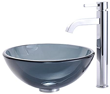 "Kraus C-GV-104-14-12mm-1007CH Clear Black 14"" Glass Vessel Sink and Ramus Faucet Chrome"