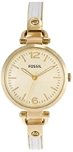 Fossil Georgia Three Hand Stainless Steel And Leather Watch White With Gold-Tone Es3260