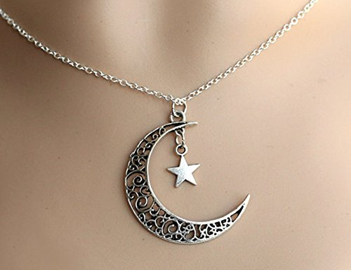JY Jewelry Silver-plated hollow Crescent Moon with Star pendant Necklace
