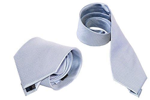 Cravatta uomo elegante LANCETTI grigia 100% seta tinta unita B366