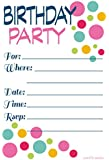 Adult or Teen Birthday Party Invitations Colorful Dots - Fill In Style (20 Count) With Envelopes