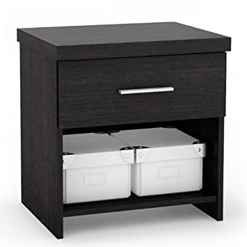 Sonax 6S-001-LWB Single Storage 4-Piece Bed Set with Flat Headboard/Nightstand/Wide Dresser, Ravenwood Black